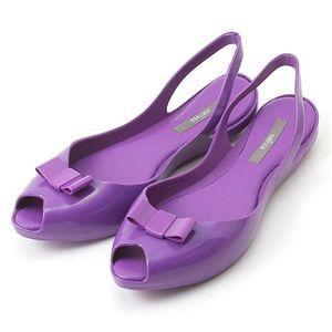 melissa(メリッサ) リボン オープントゥ ラバーサンダル Purple 38(約:23.5〜24.0cm) - 拡大画像