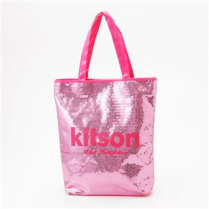 kitson(キットソン) スパンコール 縦型トートバッグ ピンク - 拡大画像