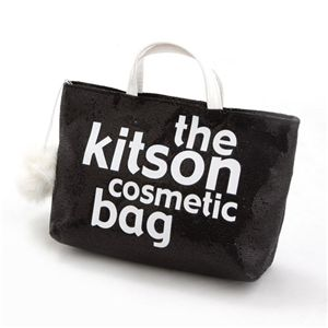 kitson(キットソン) バッグinバッグ GLITTER MATERIAL COSMETIC BAG KSG0173・Black×White