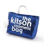 kitson(キットソン) バッグinバッグ GLITTER MATERIAL COSMETIC BAG KSG0175・Navy Blue×White