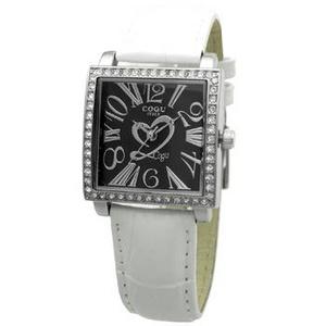 COGU(コグ) 腕時計 Ryo リョウ スクエアシリーズ ブラック文字盤 ホワイト RYO1206S-S2W レディースウォッチ - 拡大画像