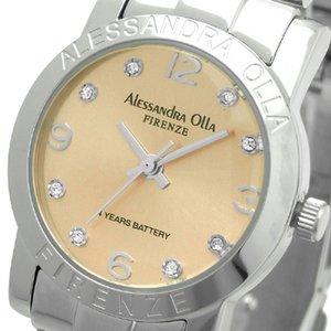 AlessandraOlla(アレサンドラオーラ)腕時計ラウンドフェイスレディースウォッチAO-715ピンクゴールド