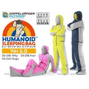 DOPPELGANGER(ドッペルギャンガー)人型寝袋ヒューマノイド スリーピングバック DS-26C Hugo ブルー ルーズサイズ - 拡大画像