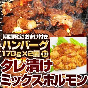 【2012年2月29日まで ハンバーグ2個おまけ付き】亀山社中 タレ漬けミックスホルモン 1.2kg - 拡大画像