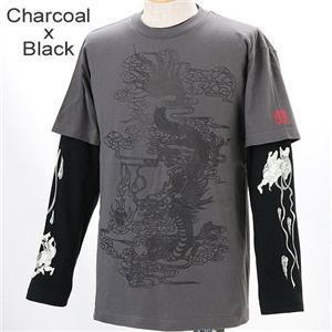 ZEKOO 和柄 Tシャツ&ロングTシャツ レイヤード2枚組み チャコール×ブラック XL - 拡大画像