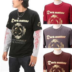 Dark matter Tシャツ&ロンT 6面プリントレイヤード 2枚組 ブラック×杢グレー L