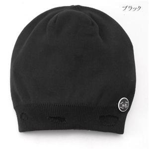 サマー烏帽子 ダメージニットキャップ+ネックレス OZS-01 ブラック