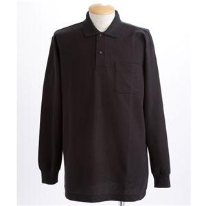 BIG 鹿の子ポケット付き長袖ポロシャツ ブラック 【5Lサイズ】の写真1
