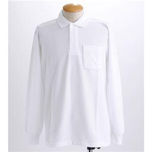 BIG 鹿の子ポケット付き長袖ポロシャツ ホワイト 【5Lサイズ】の写真1