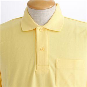 BIG 鹿の子ポケット付き長袖ポロシャツ イエロー 【5Lサイズ】の写真2