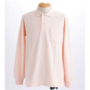 BIG 鹿の子ポケット付き長袖ポロシャツ ピンク 【5Lサイズ】の写真1