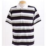 マルチボーダーメンズポロシャツ ネイビー Sサイズ