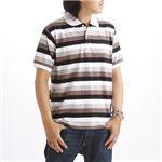 マルチボーダーメンズポロシャツ ブラック Sサイズ