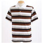 マルチボーダーメンズポロシャツ ブラウン Sサイズ