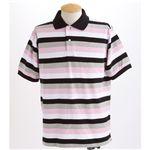 マルチボーダーメンズポロシャツ ピンク Sサイズ