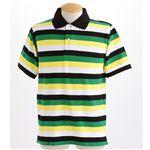 マルチボーダーメンズポロシャツ グリーン Sサイズ