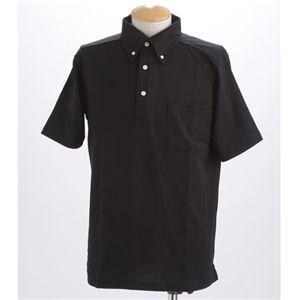 【COOLBIZ 吸汗速乾ドライメッシュボタウンダウン 鹿の子ポロシャツ】│ブラック画像1