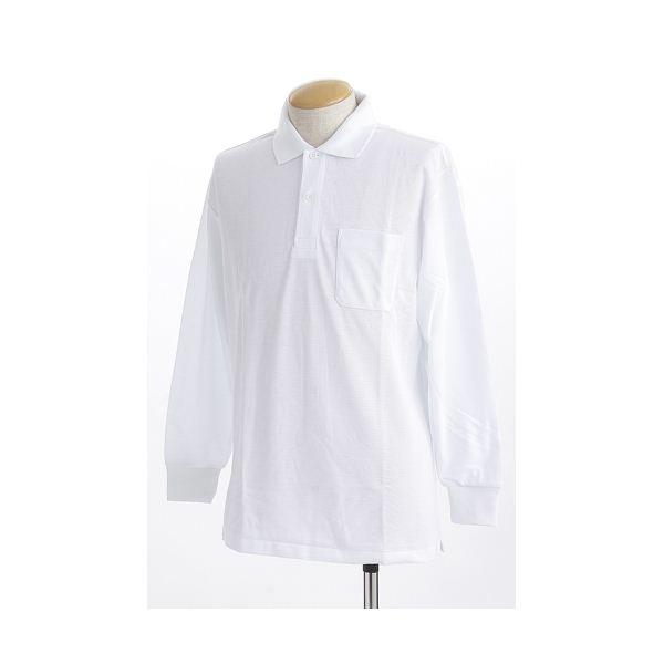 ビッグサイズポケット長袖ポロシャツ ホワイト Lサイズf00