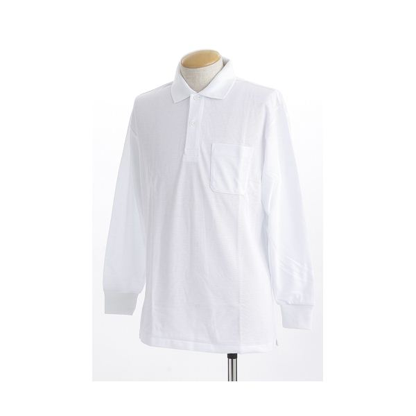 ビッグサイズポケット長袖ポロシャツ ホワイト 3Lサイズf00