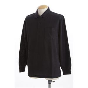 ビッグサイズポケット長袖ポロシャツ ブラック Lサイズ h01