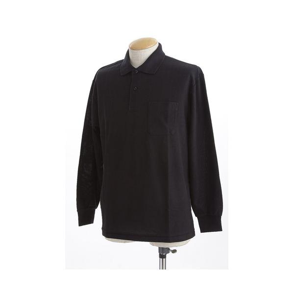 ビッグサイズポケット長袖ポロシャツ ブラック LLサイズf00