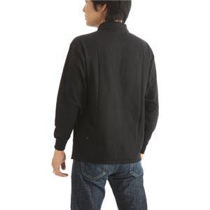 ビッグサイズポケット長袖ポロシャツ ブラック LLサイズ h03