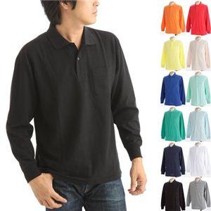 ビッグサイズポケット長袖ポロシャツ ブラック LLサイズ f04