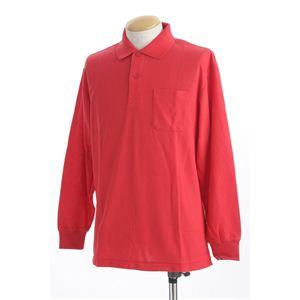 ビッグサイズポケット長袖ポロシャツ レッド Lサイズ h01