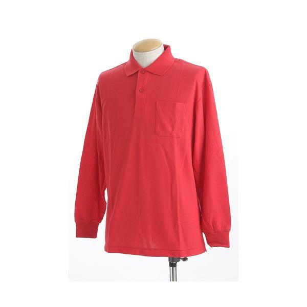 ビッグサイズポケット長袖ポロシャツ レッド Lサイズf00