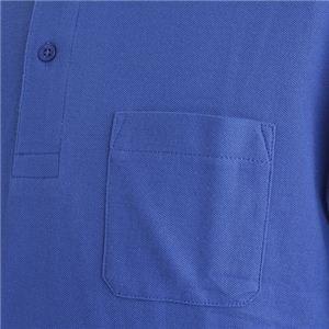 ビッグサイズポケット長袖ポロシャツ ロイヤルブルー Lサイズ h03