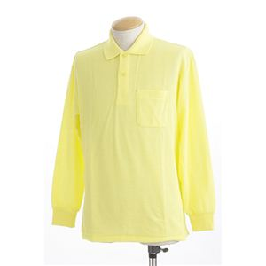 ビッグサイズポケット長袖ポロシャツ イエロー Lサイズ h01