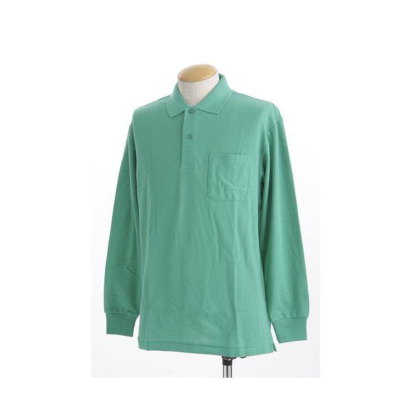 ビッグサイズポケット長袖ポロシャツ グリーン 4Lサイズf00