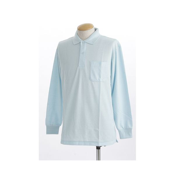 ビッグサイズポケット長袖ポロシャツ サックス 3Lサイズf00