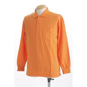 ビッグサイズポケット長袖ポロシャツ オレンジ 3Lサイズ h01