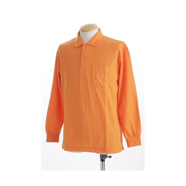 ビッグサイズポケット長袖ポロシャツ オレンジ 3Lサイズf00