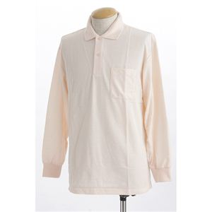 ビッグサイズポケット長袖ポロシャツ ソフトピンク Lサイズ h01
