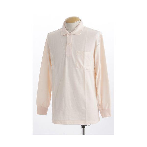 ビッグサイズポケット長袖ポロシャツ ソフトピンク Lサイズf00