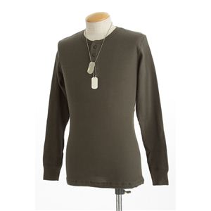 ドッグタグ付きコットサーマルヘンリーネックシャツ モスグリーン XL