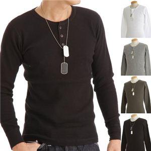 ドッグタグ付きコットサーマルヘンリーネックシャツ ブラック Mサイズ
