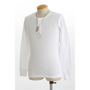 ドッグタグ付きコットサーマルヘンリーネックシャツ ホワイト XL