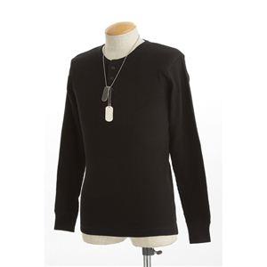 ドッグタグ付きコットサーマルヘンリーネックシャツ ブラック XL
