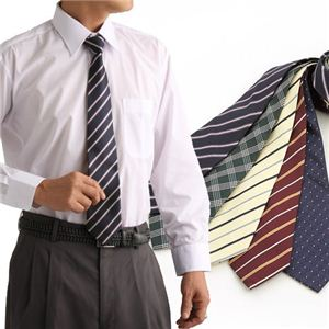 ネクタイ5本セットおまけ長袖ワイシャツつき Yシャツ1枚+ネクタイ5本セット L 【 6点お得セット 】