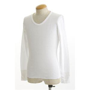米軍ドッグタグ付き コットンサーマルUネックシャツ 長袖 ホワイト Lサイズ