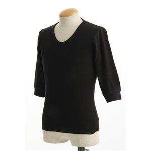 米軍 ドッグタグ付き コットンサーマルUネックシャツ 五分袖 ブラック Mサイズ