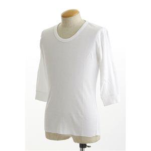 【訳あり・在庫処分】米軍ドッグタグ付き コットンサーマルUネックシャツ 五分袖 ホワイト Lサイズ