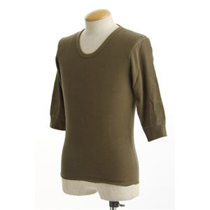 米軍ドッグタグ付きコットンサーマルUネックシャツ五分袖オリーブMサイズ