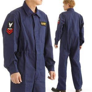 アメリカ海軍(米軍)紋章入り ヘリンボーンワーカーカバーオール 522904 ネイビー L