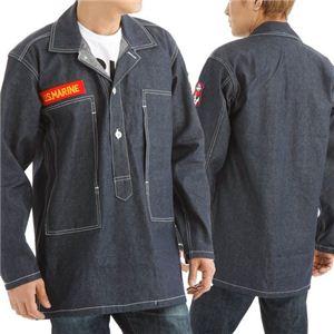 アメリカ軍WW2 デニムワークジャケット ワッペン刺繍付き ネイビー S(36) - 拡大画像