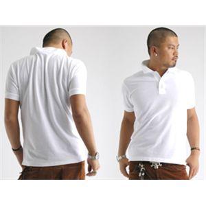 無地鹿の子ポロシャツ ホワイト LL h02