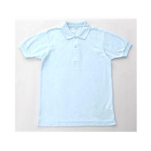 無地鹿の子ポロシャツ サックス Mの商品画像